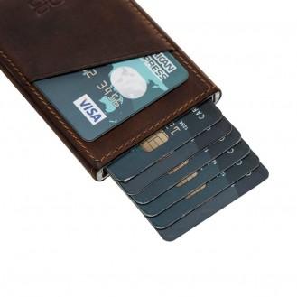Bouletta Mini Kreditkarten Leder Etui Geldbörse mit Kartenauswurf-Mechanismus (RFID Schutz) - Braun