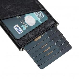Bouletta Mini Kreditkarten Leder Etui Geldbörse mit Kartenauswurf-Mechanismus (RFID Schutz) - Schwarz