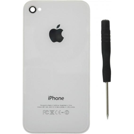Weiss Echt Glas Backcover Akkudeckel iPhone 4S