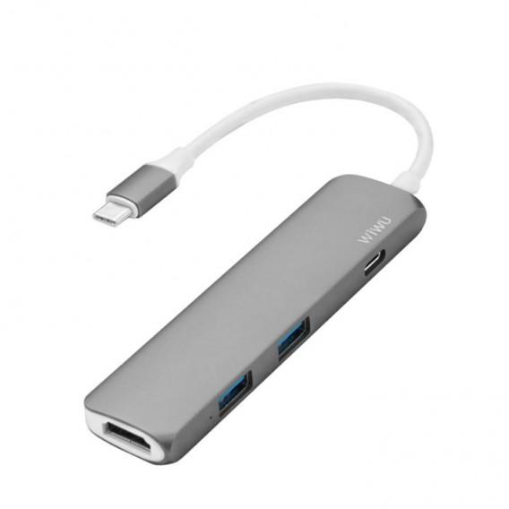 WIWU H1 Slim Aluminum Type-C Multi-Port Hub Adapter with USB-C Charging Port, 4K HDMI Video  (Titanium gray)