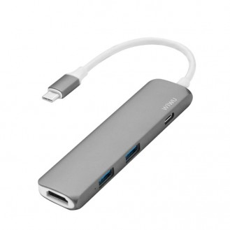 WIWU H1 Slim Aluminum Type-C Multi-Port Hub Adapter with USB-C Charging Port, 4K HDMI Video (Titanium gray)