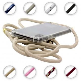 TPU Schutzhülle mit Umhängeband für Samsung Galaxy S10 , Transparent / Aprikose