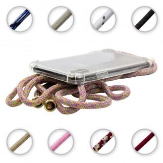 TPU Schutzhülle mit Umhängeband für Samsung Galaxy A40 , Transparent / Regenbogen