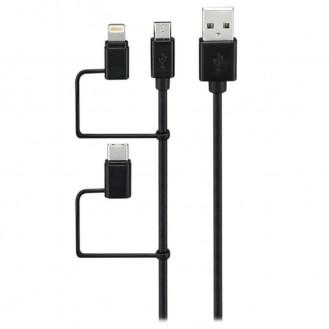 GOJI 3-IN-1 USB KABEL - MICROUSB, TYP-C, LIGHTNING - SCHWARZ