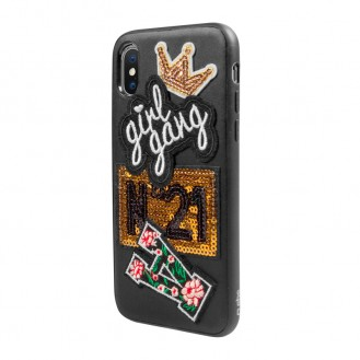 SBS COVER MIT GIRL GANG-PATCH FÜR IPHONE XS/X