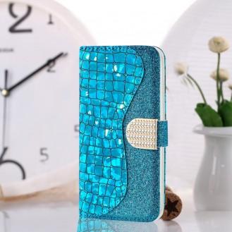 Bling Glitzer Book Wallet ID Case Hülle für Samsung Galaxy S20 Silber
