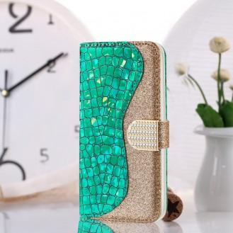Bling Glitzer Book Wallet ID Case Hülle für Samsung Galaxy S20 Grün