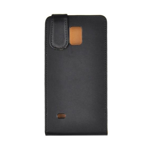 Schwarz Flip Leder Etui Tasche Note 4