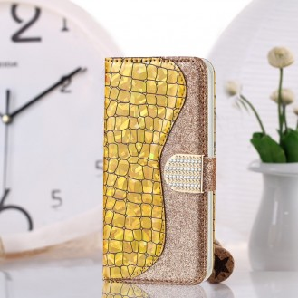 Bling Glitzer Book Wallet ID Case Hülle für Samsung Galaxy S20 Plus Gold