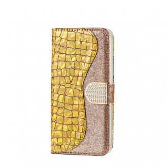 Bling Glitzer Book Wallet ID Case Hülle für Samsung Galaxy  s20 Gold