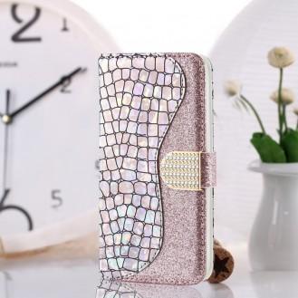 Bling Glitzer Book Wallet ID Case Hülle für Samsung Galaxy S20 Plus Silber