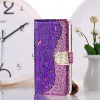 Bling Glitzer Book Wallet ID Case Hülle für Samsung Galaxy S20 Plus Lila