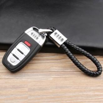 Audi Schlüsselanhänger Leder Schwarz (Auf Wunsch mit Gravur)