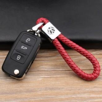 VW Schlüsselanhänger Leder Rot (Auf Wunsch mit Gravur)