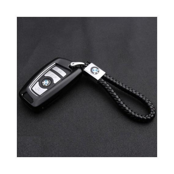 BMW Schlüsselanhänger Leder Schwarz (Auf Wunsch mit Gravur)