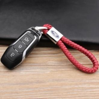 Ford Schlüsselanhänger Leder Rot (Auf Wunsch mit Gravur)