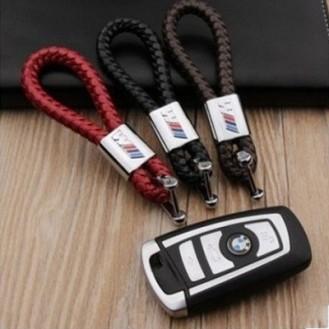 BMW M Power Schlüsselanhänger Leder Rot (Auf Wunsch mit Gravur)