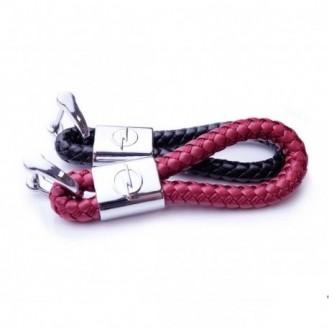 Opel Schlüsselanhänger Leder Rot (Auf Wunsch mit Gravur)