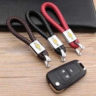 Chevrolet Schlüsselanhänger Leder Schwarz (Auf Wunsch mit Gravur)