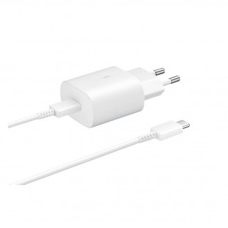 Samsung - (1m) AFC Schnell Ladegerät (3A/25W) + USB C auf USB C Ladekabel (EP-TA800XWEGWW) - Weiss