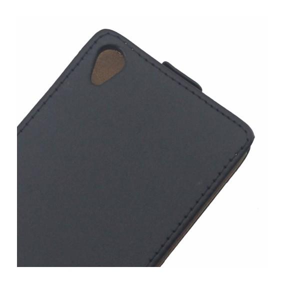Schwarz Flip Leder Etui Tasche Xperia Z3