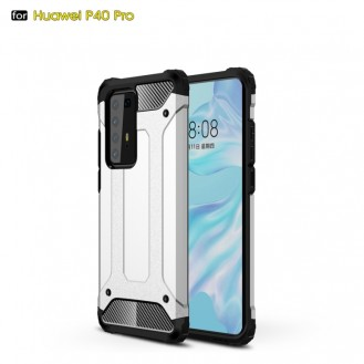 Huawei P40 Pro Double Layer Shockproof Impact Armour Hard Case in Silber