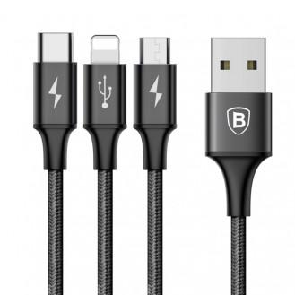 Baseus 3in1 Lightning + MicroUSB + Typ-C 120CM
