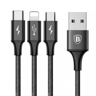 Baseus Schnell Serie 3in1 Lightning + MicroUSB + Typ-C 120CM Kabel Blau