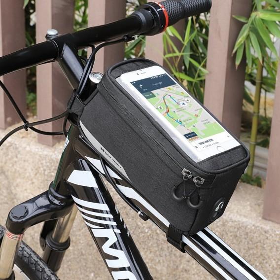 Fahrradtasche Rahmentasche Handyhalterung für Smartphone max 6,5 Zoll 1L schwarz