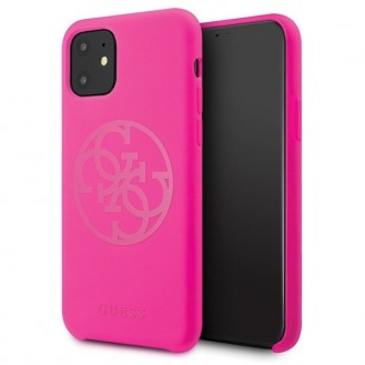 Guess - 4G Silicon Collection Tone Case - Apple iPhone 11 - Magenta - Hard Cover - Schutzhülle