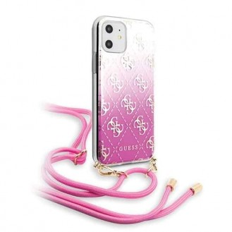 iPhone 11 Guess 4G Electroplated Gradient Hard Case Hülle Band umhängen Pink