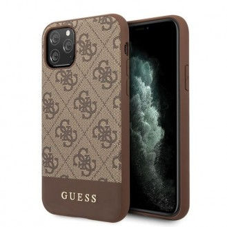 Guess iPhone 11 Pro Max 4G Stripe Kollektion Hülle Case Cover Braun