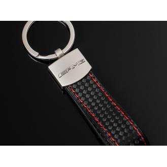 AMG Carbon Schlüsselanhänger Leder Schwarz (Auf Wunsch mit Gravur)