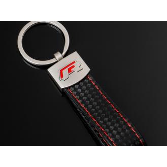 Audi R Racing Carbon Schlüsselanhänger Leder Schwarz (Auf Wunsch mit Gravur)
