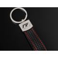 Audi R Racing Schlüsselanhänger Leder Schwarz (Auf Wunsch mit Gravur)