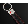Audi RS Carbon Schlüsselanhänger Leder Schwarz (Auf Wunsch mit Gravur)