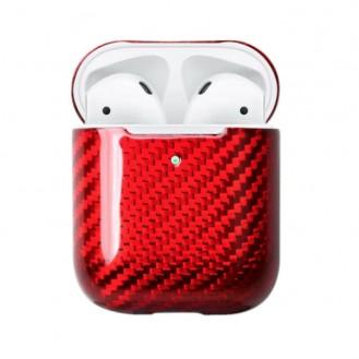 Echt Carbon Faser Volle Schutz Hülle Slim Case Für Airpods 1 / 2 Rot
