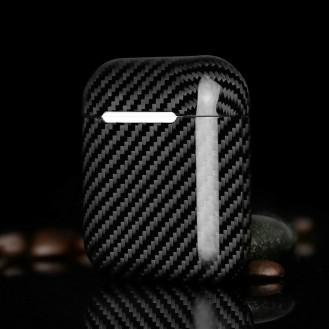 Echt Carbon Faser Volle Schutz Hülle Slim Case Für Airpods 1 / 2 Schwarz