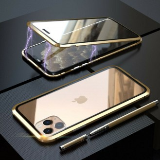 360°  Magnet Cover Hülle iPhone 11 Pro Max Gold