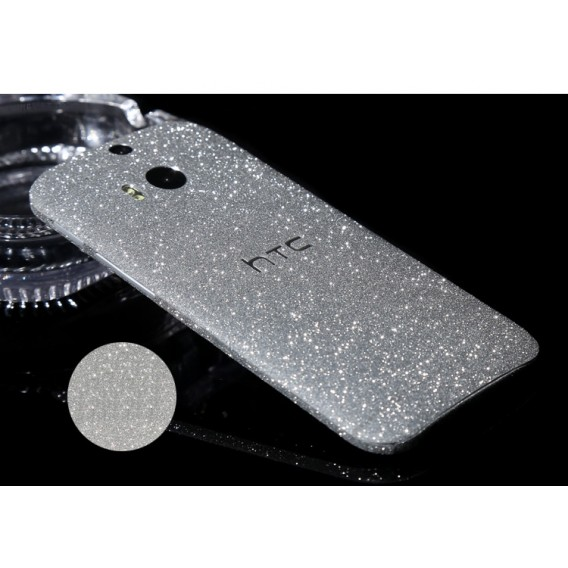 HTC One M8 Silber Bling Aufkleber Folie Sticker Skin