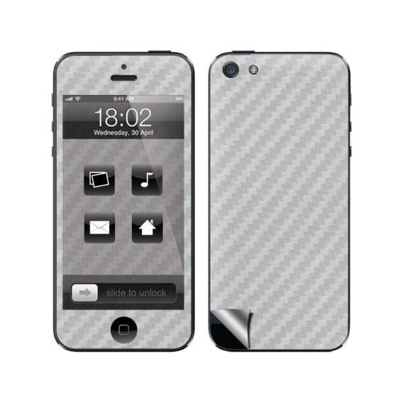 Silber Carbon Folie Sticker Skin für iPhone 5 5S SE