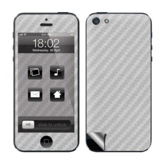 Silber Carbon Folie Sticker Skin für iPhone 5 5S SE