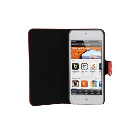 Rot / Weiss gepunktete Leder Etui iPod Touch 5