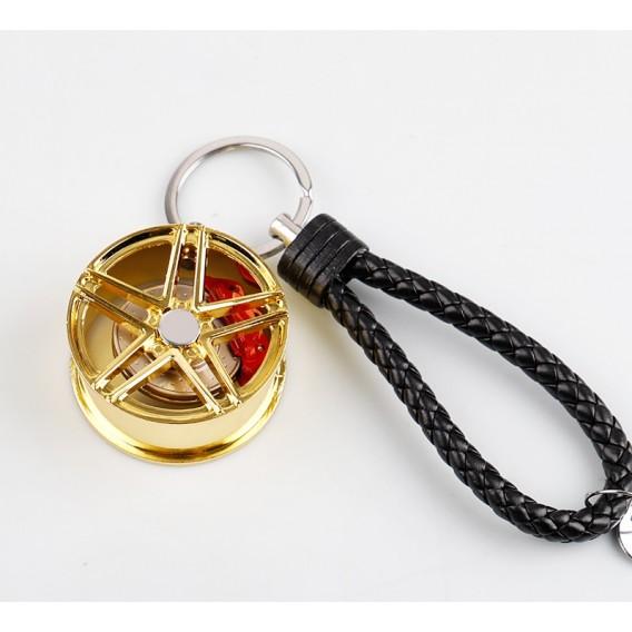 Schlüsselanhänger Auto Geschenk Felge Autofelge Tuning Metall Glücksbringer Gold