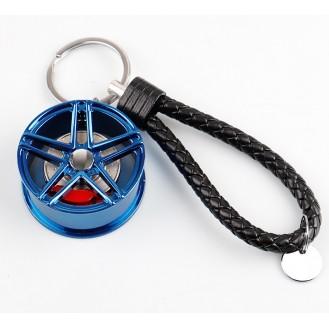 Schlüsselanhänger Auto Geschenk Felge Autofelge Tuning Metall Glücksbringer Blau