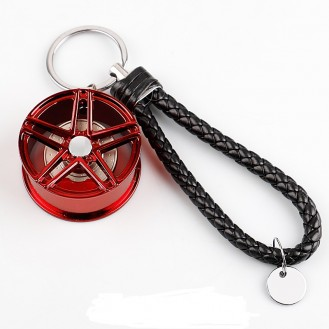 Schlüsselanhänger Auto Geschenk Felge Autofelge Tuning Metall Glücksbringer Rot
