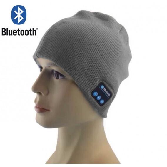 Bluetooth Musik Mütze Grau