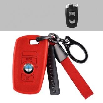 BMW Textil-Silikon Schlüssel Cover Schlüsselanhänger+Band Rot