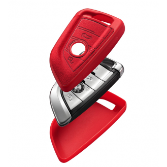 BMW Textil-Silikon Schlüssel Cover Schlüsselanhänger+ Band Rot