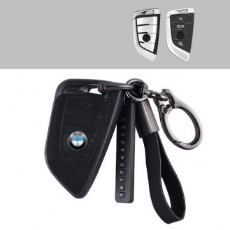 BMW Textil-Silikon Schlüssel Cover Schlüsselanhänger+ Band Schwarz